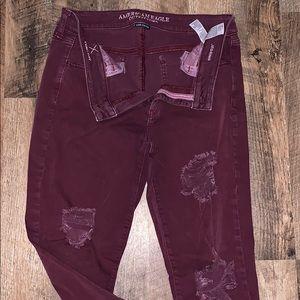 Burgundy American eagle jeans